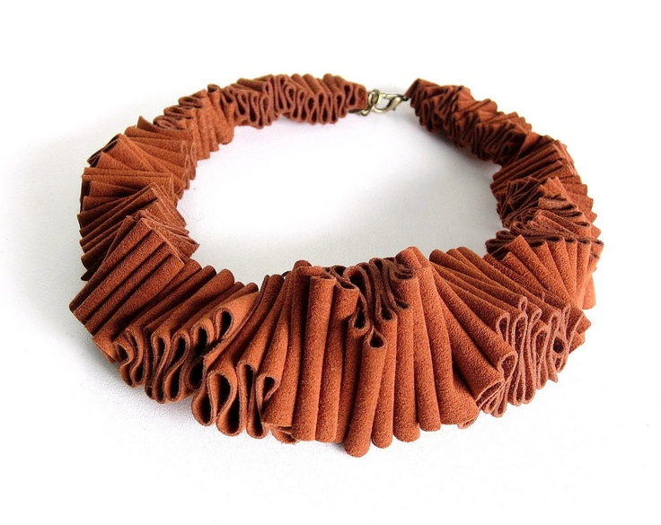 orange bib necklace avant garde ruffle fashion urban by frankideas. Leather, paper, polymer??