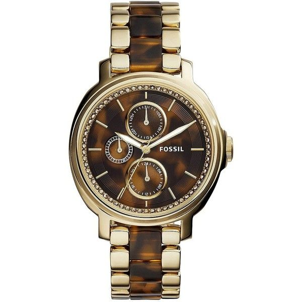Fossil Chelsey Tortoise Acetate and Goldtone Stainless Steel Bracelet... ($165) ❤ liked on Polyvore featuring jewelry, watches, gold, fossil watches, tortoise watches, tortoise bracelet, fossil wrist watch and bezel bracelet