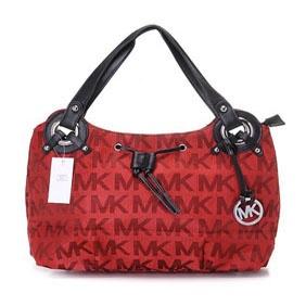 Michael Kors Large Bedford Monogram Tote Handbag Red