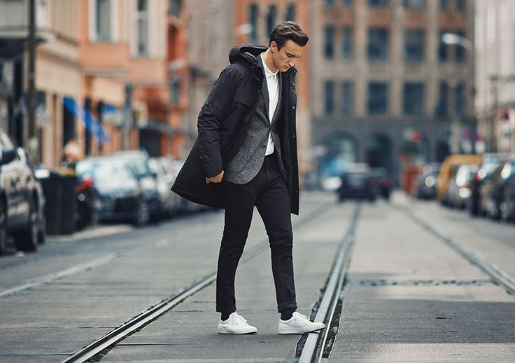 All-grey outfit idea from Marcel Floruss, ambassador for PREMIUM by JACK & JONES jacket, wool blazer, white shirt, black skinny fit jeans, white leather trainers