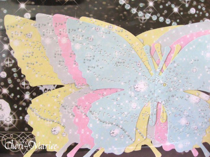バタフライグラスカード(パステルキラキラバージョン)>披露宴演出アイテム 結婚式グッズ専門店シェリーマリエ