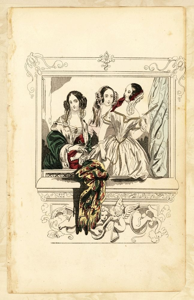 "Antique c1865 Book Plate Victorian Ladies Fashion Opera Box Hand Tinted 9.5"" x6"" #Victorian"