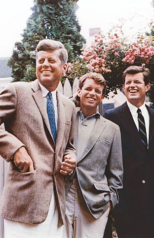 """John, Bobby, & Ted Kennedy. """"My brother need not be idealized, or enlarged in death beyond what he was in life; to be remembered simply as a good and decent man, who saw wrong and tried to right it, saw suffering and tried to heal it, saw war and tried to stop it."""" - Ted Kennedy eulogizing RFK."""