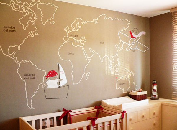 Best Jules Verne Around The World Nursery Images On Pinterest - Boys room with maps