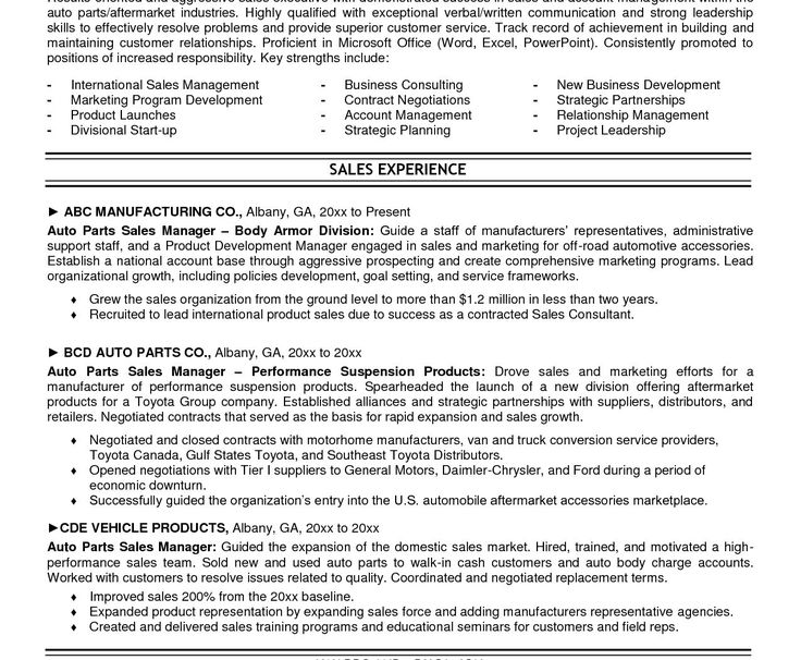 Resume For Automotive Parts Sales - Best opinion