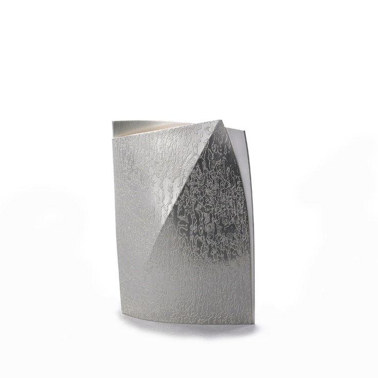 Diagonal Fold Vase by Esther Lord  from miratis.com. Handcrafted in England from fine silver