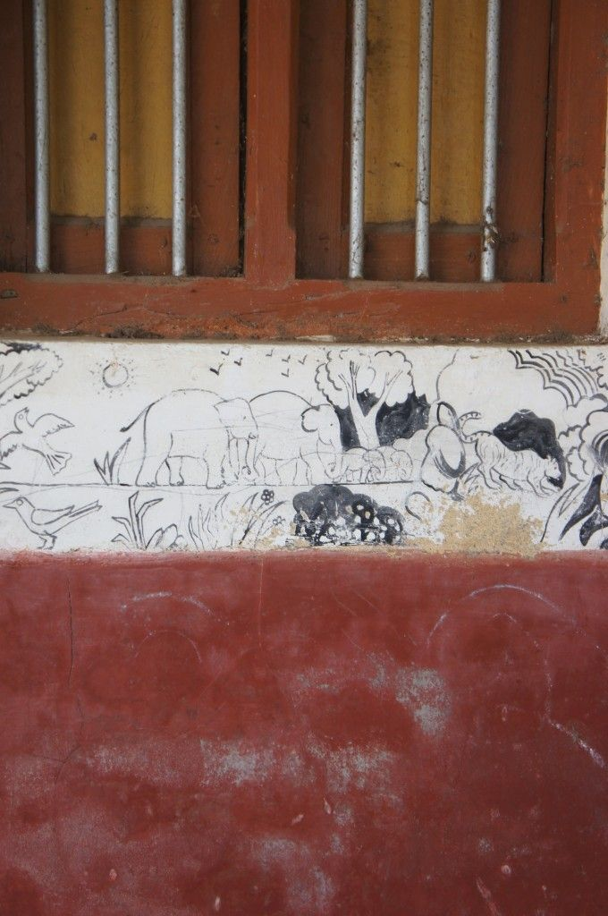 A simple drawing in a weavers home ,decorating the wall.