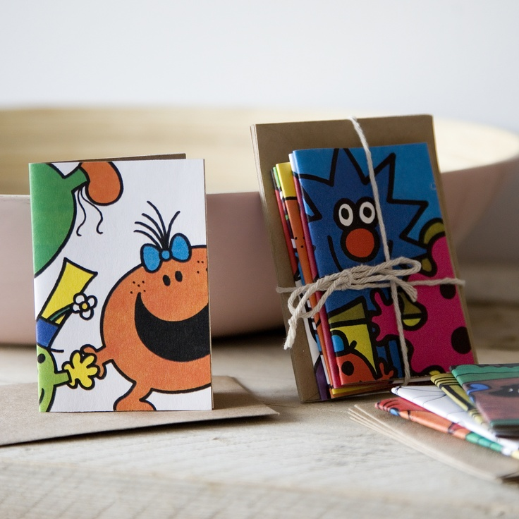 Up-cycled Mr Men / Little Miss Mini Gift Cards  Perfect for any occasion, these mini gift cards are made using the authentic beautiful illustrations re-cycled from the well know MR. MEN AND LITTLE MISS™ books.  Each card comes complete with a re-cycled Kraft colour envelope.
