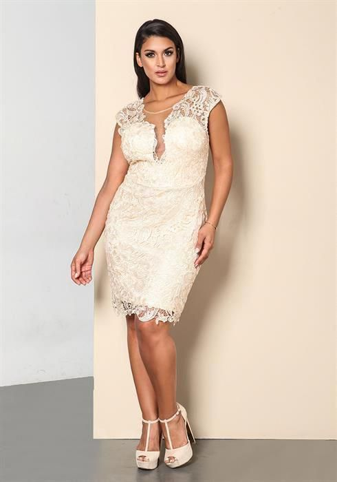 Plus Size Cream Embroidered Lace Rhinestone Dress ...