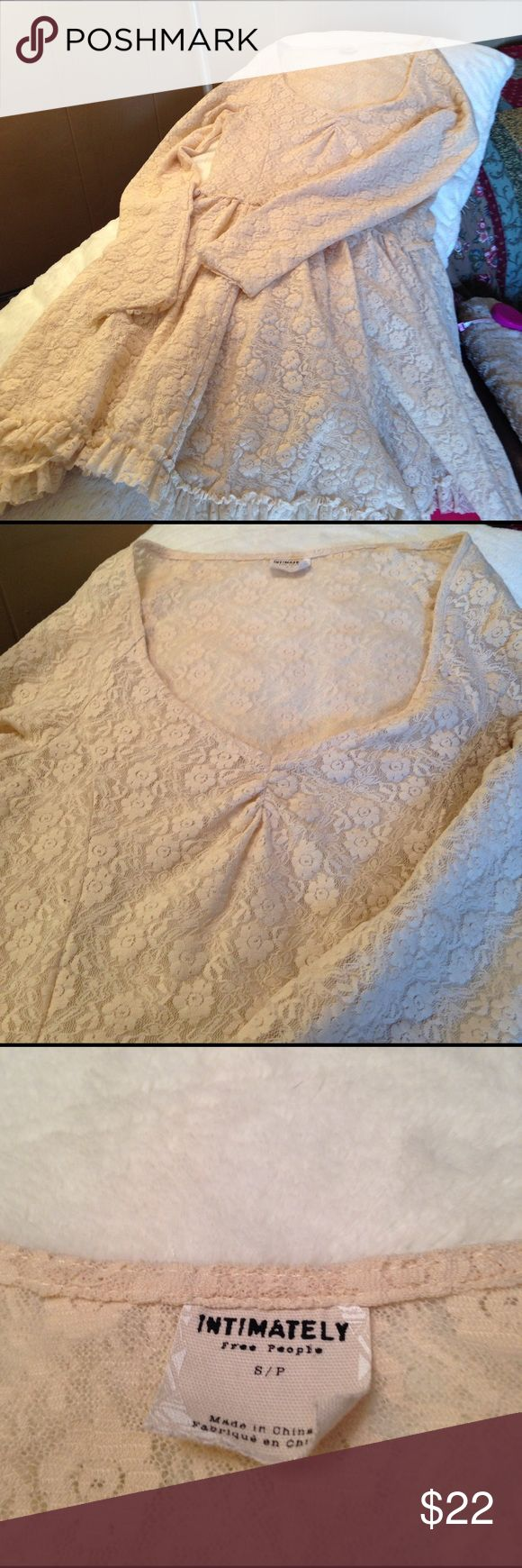 Intimately Free People Lacy Dress Super hot beige lacy dress by Intimately Free People ... could be used as lingerie or even a dress over a beige tank dress or a top over a tank!! Size S. Priced to sell!! Make an offer!! intimately free people Tops