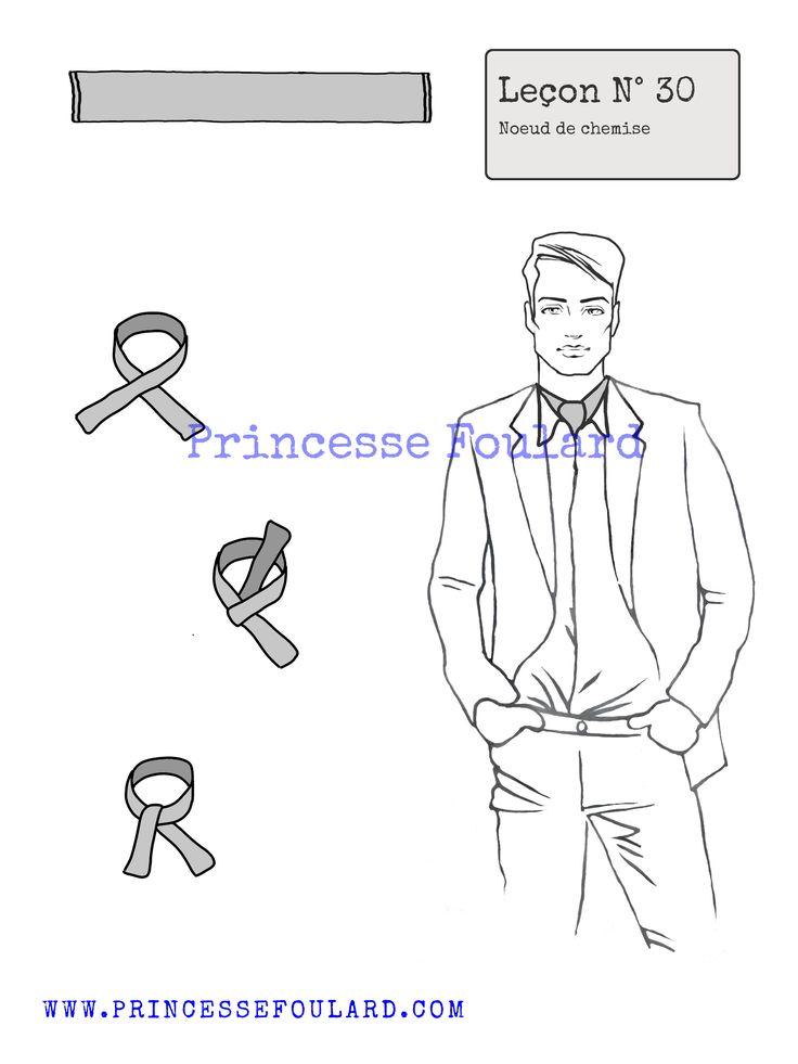 Pour comment porter foulard avec une chemise et comment le mettre autour du cou avec style et allure, Nouer un foulard sous une chemise d'homme ou femme.