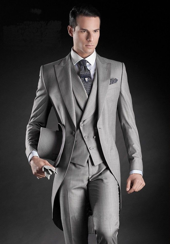 Latest Coat Pant Designs Grey Tailcoat Double Breasted Italian Formal  Custom Wedding Suits For Men 3 Pieces Groom Masculino H8 c2e44d37a039