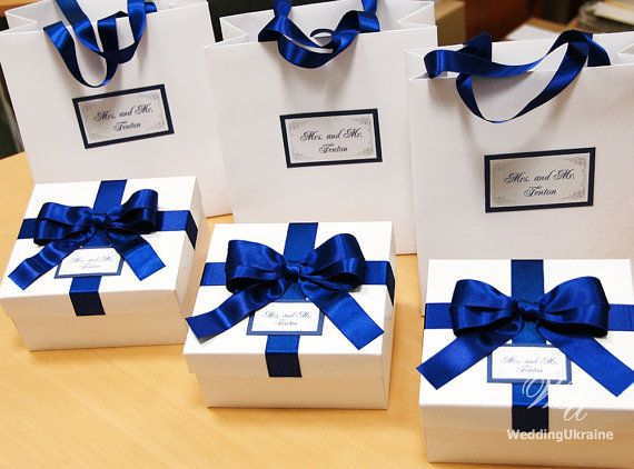 Welcome Gift Set  Paper Bag and Box with satin by WeddingUkraine