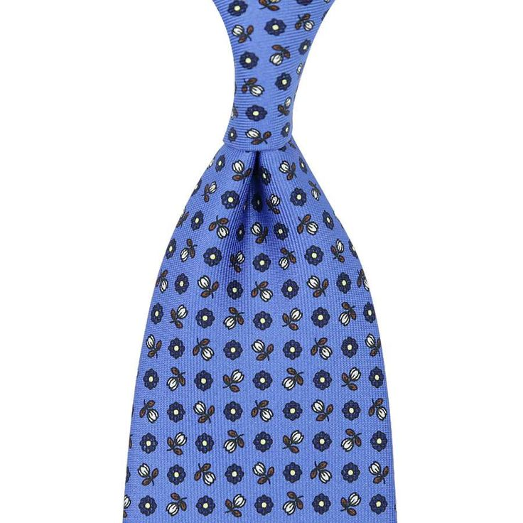 Floral Printed Silk Tie - Sky Blue - Handrolled