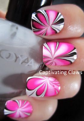 Colorful Water Marble Nails (Polish shades:Zoya Snow White, Zoya Dove, Bettina Onix, and Sinful Colors Cream Pink.)