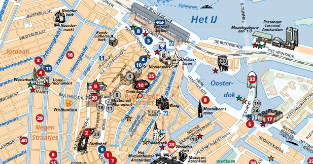 Mapa Turístico de Amsterdã #viajar #amsterdam #holanda