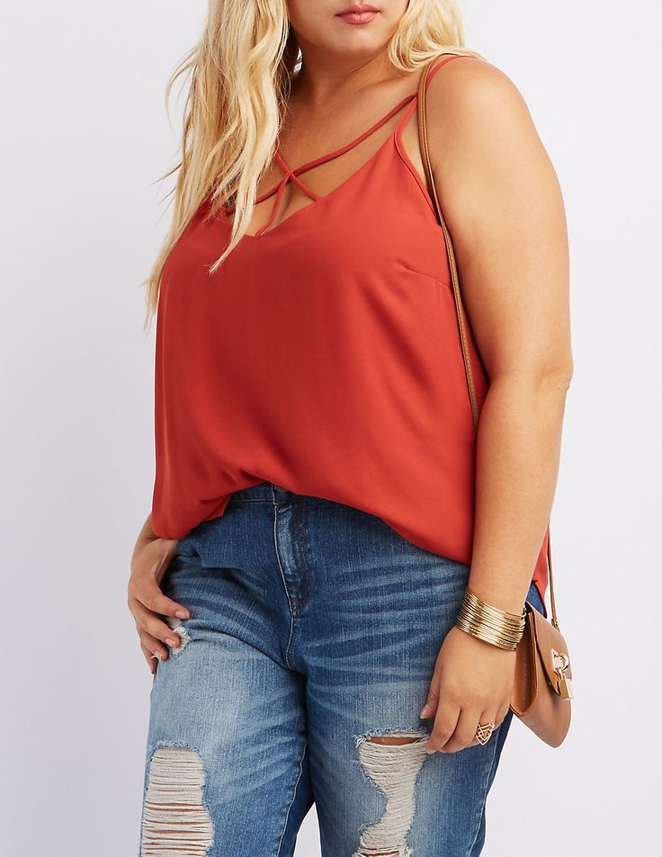 Plus Size Strappy Caged Tank Top | Charlotte Russe
