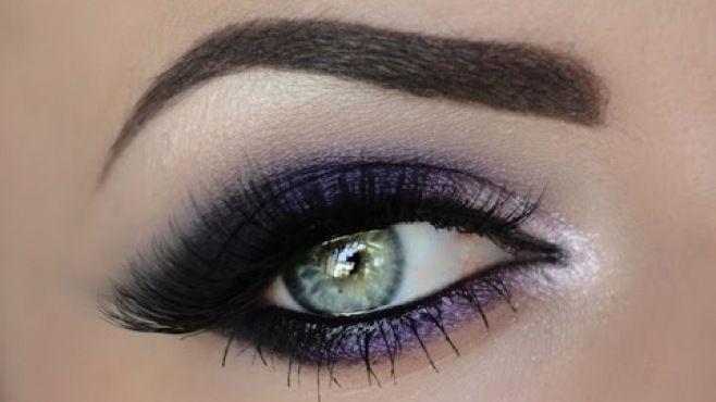 Mor Dumanlı Göz Makyajı Uygulaması - Özel günler için yapabileceğiniz mor dumanlı göz makyajı tekniği (Sultry Purple Smokey Eye Video)