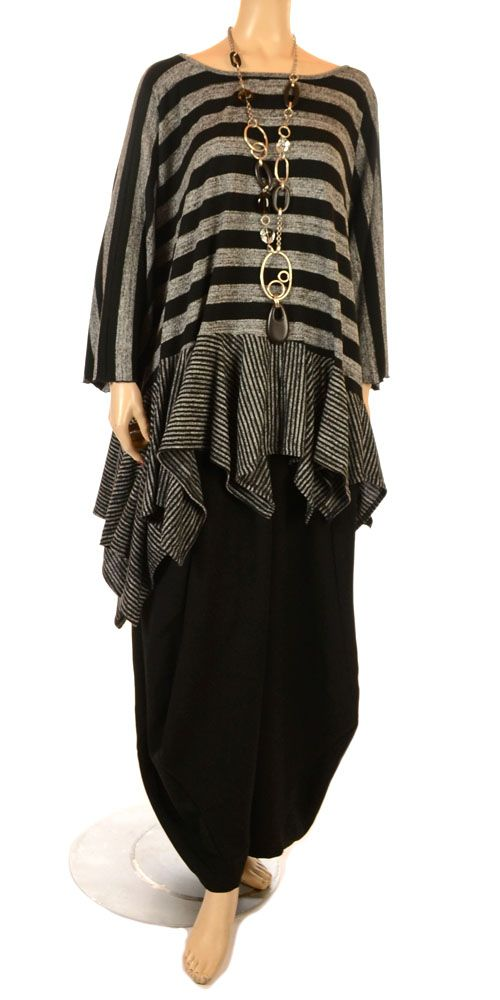 Vincenzo Allocca Funky Black & Grey Multi Stripe Ruffle Top