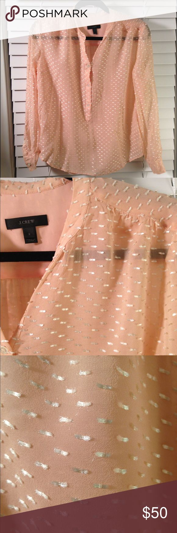 Light pink J Crew blouse Beautiful J Crew silk dash-dot blouse. Featuring a chic new take on swiss-dot, this airy blouse looks polka-dotted from far away and gives a slight shimmer from detailing. Great paired with trousers for a polished work look. J. Crew Tops Blouses