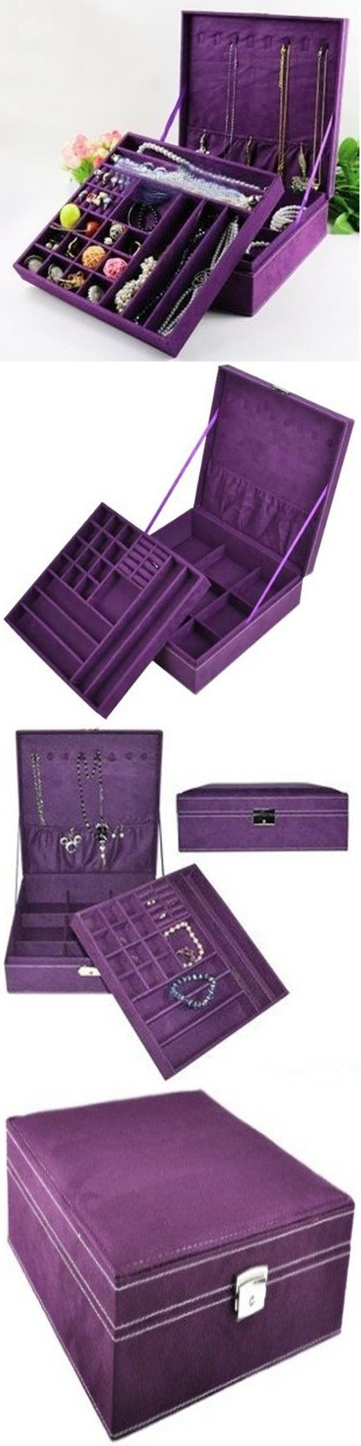 Multi-Purpose 168165: Jewelry Box Purple Storage Cabinet Organizer Necklace Chest Display Case Armoire BUY IT NOW ONLY: $35.52