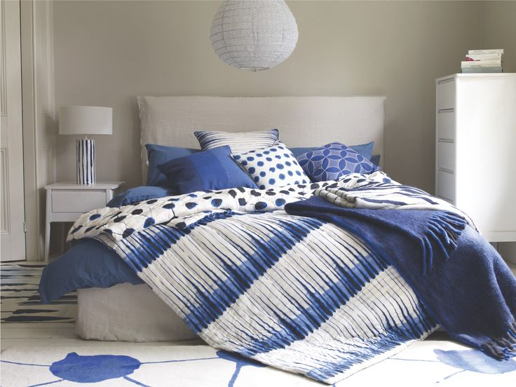WASHED BLUE Cotton Blue stonewashed single duvet cover - HabitatUK