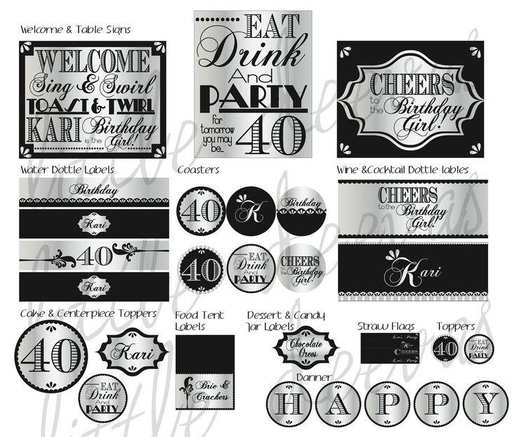 40th Birthday PDF Printable Party Pack. $40.00, via Etsy.