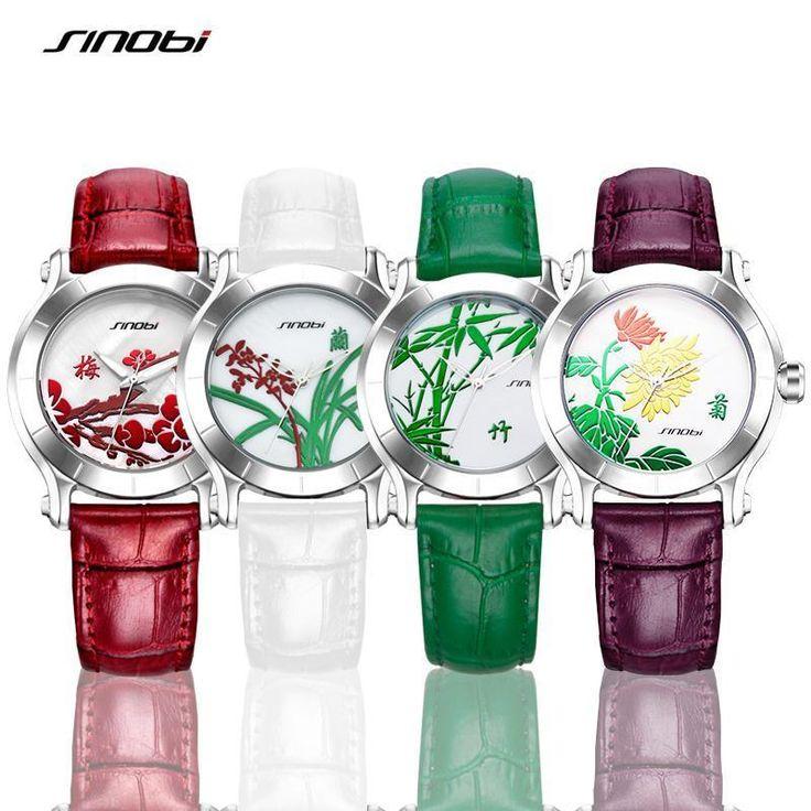 SINOBI Flower Design Watches Women's Fashion 2017 New Watch Ladies Whi