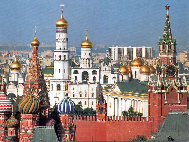 The Kremlin and St. Basil cathedral in Moscow.