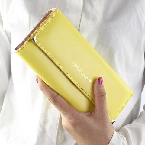 Elegant Women's Clutch Wallet With PU Leather and Solid Color