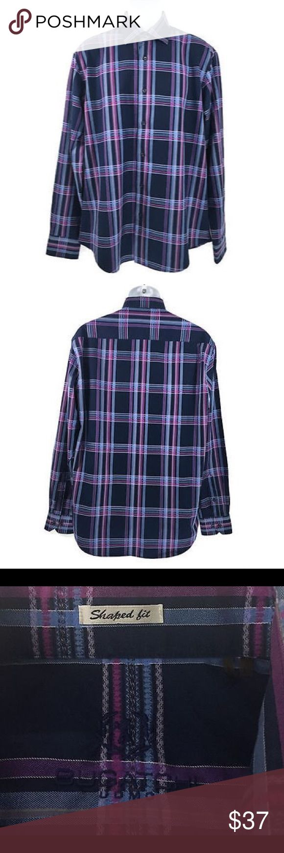 Bugatchi Uomo Shirt Shaped Fit Plaid Cotton Large In great condition. Measurements laying flat: shoulder to shoulder: 20 inches. Pit to pit: 23.5 inches. Length: 31 inches. Sleeve: 26 inches. Bugatchi Shirts Casual Button Down Shirts