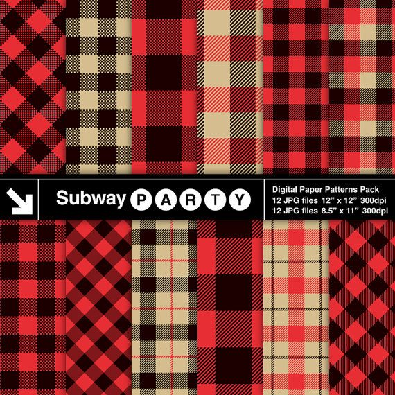 Lumberjack Flannel, Buffalo Check Plaid Red, Black, Khaki Gingham, Tartan. Scrapbook Digital Papers 8.5x11 / 12x12 jpg INSTANT DOWNLOAD