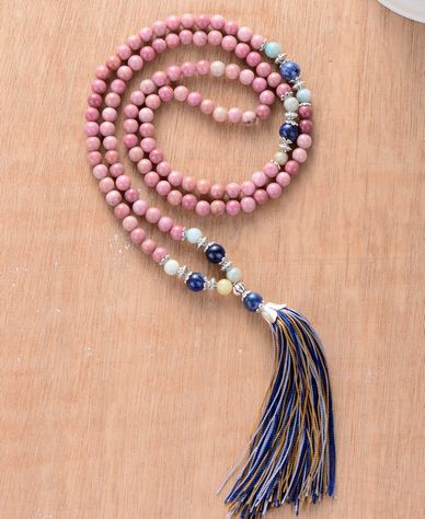 Unique Rhadonite Stone Boho Necklace with Colorful Tassel