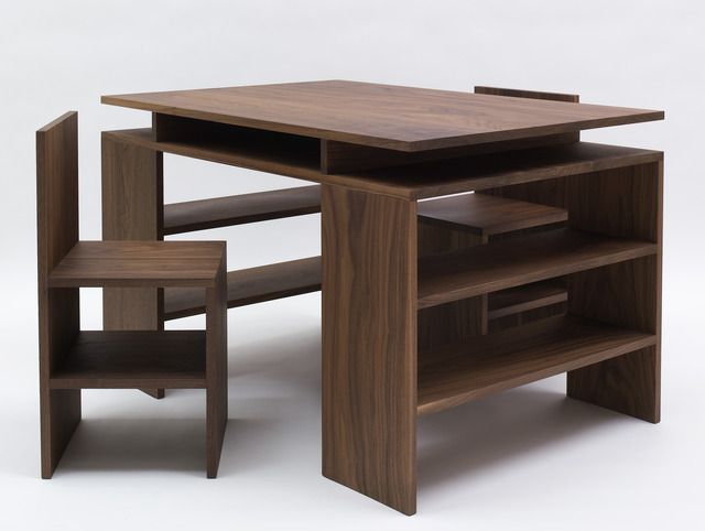 """walnut, 30"""" x 48"""" x 33"""" (76.2 cm x 121.9 cm x 83.8 cm), desk30"""" x 15"""" x 15"""" (76.2 cm x 38.1 cm x 38.1 cm), two chairs, 2006, © Judd Foundation. Licensed by VAGA, New York, NY / Photo by: Kerry Ryan McFate"""