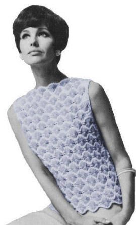 Flower Design Shell Vintage Knitting Pattern for download - Sizes Small, Medium, Large - Width around underarms: 35, 38 1/2, 42 inches