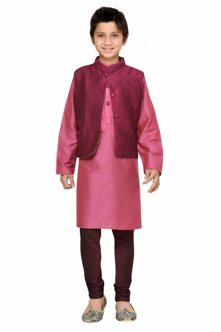 Dress up your little dude  in a comfortable Cotton Silk made Kurta Pajama , which looks adorable and charming. The Pink colour of Kurta Pajama looks vibrant and hence is suitable for any special occas...