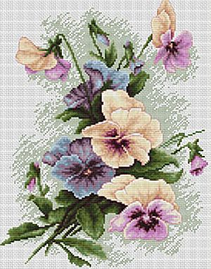 Pansies Cross Stitch Kit By Luca S (one)