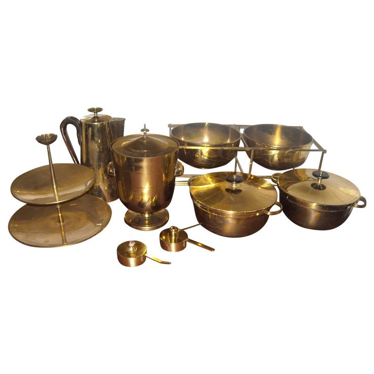 Large Set of Tommi Parzinger Dining Ware for Dorlyn Silversmith, in Brass   From a unique collection of antique and modern more dining and entertaining at https://www.1stdibs.com/furniture/dining-entertaining/more-dining-entertaining/