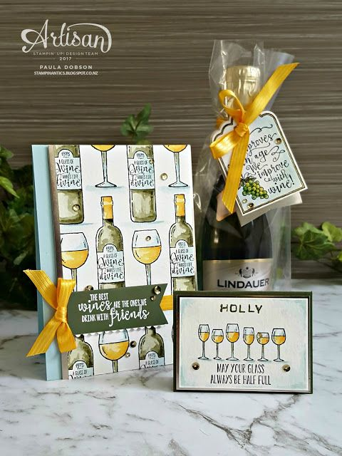Get your table setting sorted for Christmas with a mini bottle of bubbles!  Featuring the Half Full stamp set - Paula Dobson  #pauladobson #stampinantics #halffullstampset #labeleralphabetstampset #artisandesignteam