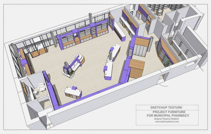 free sketchup 3d model modern pharmacy, how to design a modern