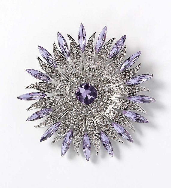 Absolutely stunning large crystal lavender brooch jewelry, which can be used for your DIY project - light purple lavender wedding, bridal broach bouquet, necklace, clutch decor, ring pillow, invitations, cake decorations, event decor, crafts, scrap booking and much more! Size: 2 3/4 inch