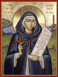 St. Brigid of Ireland Orthodox Icon...Commemorated today, Feb 1st. This is the icon we have in our icon corner.