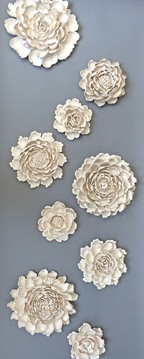 Flowers! Syra Gomez Porcelain wall art sculpture installation,  interior art