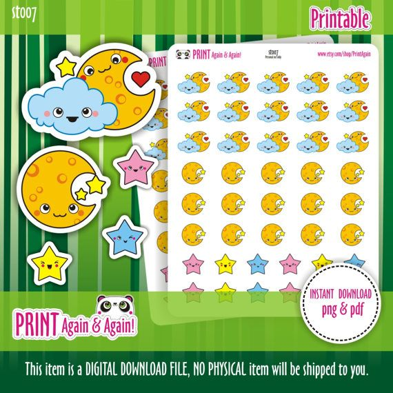 Moon Printable Planner Stickers Star Stickers Moon by PrintAgain