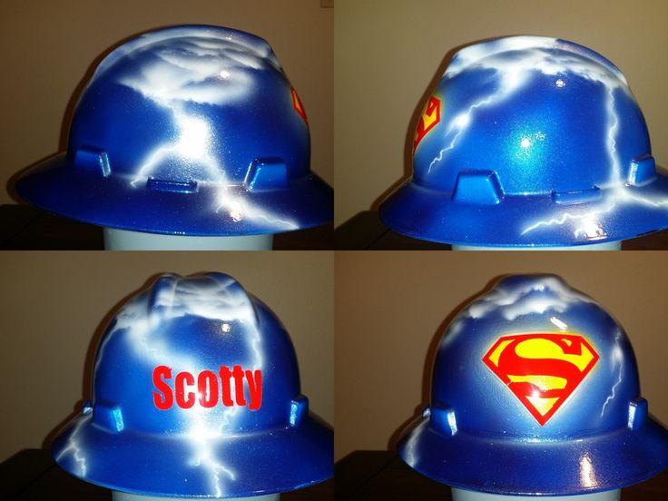 Custom Welding Helmets >> Superman hard hat by #zimmerdesignz | Hard hats, Welding Helmets and More | Pinterest | Hard ...