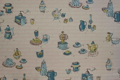 this is so cute! Yellow and Blue Kitchen Vintage Wallpaper
