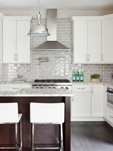 Stephanie Kraus Designs, LLC White cabinets, gray backsplash Older House Renovation Before and After