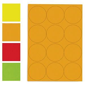 Ronde papieren etiketten in fluokleuren