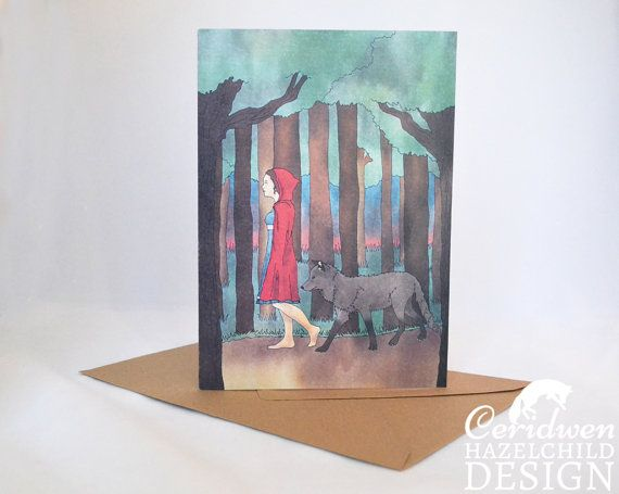 Red Riding Hood Greeting Card Blank Card Birthday Card Thank You Card Easter Card Mothers Day Card by ceridwenDESIGN http://ift.tt/1TVXbyL