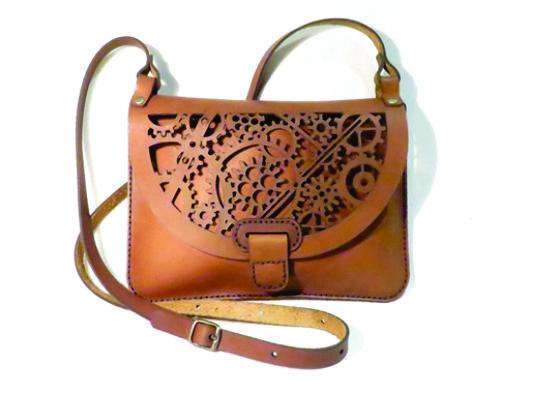 GEARS 25cm X 18cm CROSSBODY CLUTCH BAG Genuine leather, Laser cut, Hand stitched